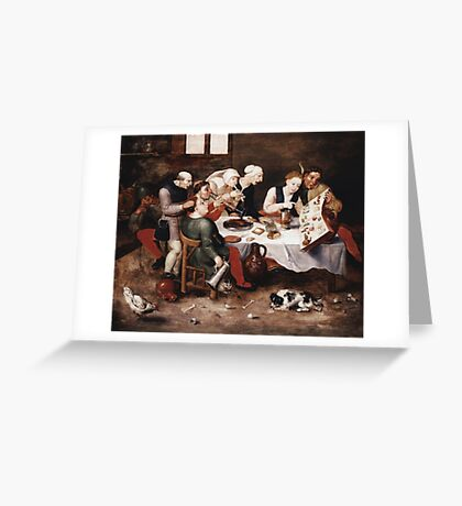 Vintage famous art - Hieronymus Bosch - The Bacchus Singers 1580 Greeting Card