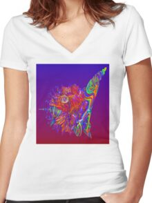 Alien Sea Creature Women's Fitted V-Neck T-Shirt
