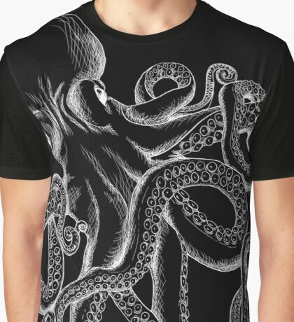 Octopus White Line Art Graphic T-Shirt