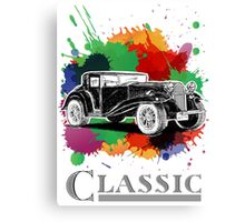 Vintage Retro Classic Old Car with colorful ink Canvas Print