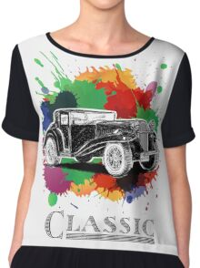 Vintage Retro Classic Old Car with colorful ink Chiffon Top