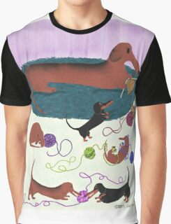 Knitting Dachshund Graphic T-Shirt