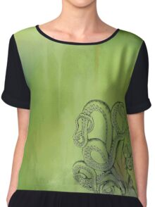Octopus - Green and Blue Background Chiffon Top