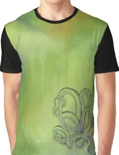Octopus - Green and Blue Background Graphic T-Shirt