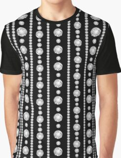 Cut White Diamond Studded Clear Multi Strands of Beads Sparkling Jewelry on Black Graphic T-Shirt