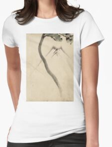 Hokusai Katsushika - A Tree Trunk With Branch And Leaves  Womens Fitted T-Shirt