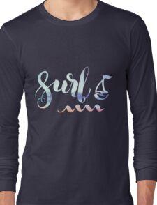 Surf lettering on a  defocus blurred summer background Long Sleeve T-Shirt