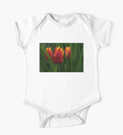 Cheerfully Wet Red and Yellow Tulips One Piece - Short Sleeve