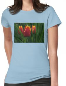 Cheerfully Wet Red and Yellow Tulips Womens Fitted T-Shirt