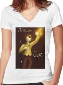To Discover and Create Women's Fitted V-Neck T-Shirt