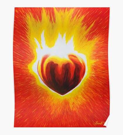 Flaming Heart Poster