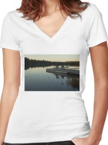 Empty - Reflecting on Sunset Serenity Women's Fitted V-Neck T-Shirt