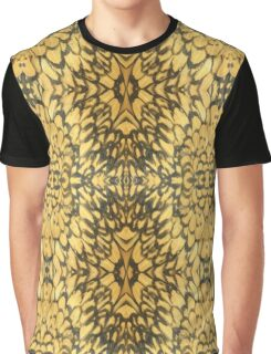 Funky Hipster Cheerful Bright Bold Vibrant Yellow Black Feather Patterns Graphic T-Shirt