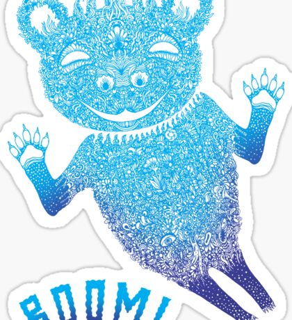 Turquoise Bear Goes Boom Sticker