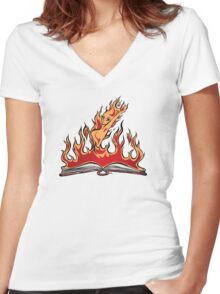 Burning With Knowledge! Women's Fitted V-Neck T-Shirt