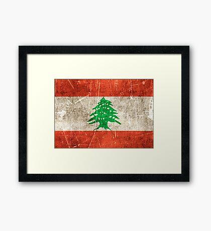 Vintage Aged and Scratched Lebanese Flag Framed Print