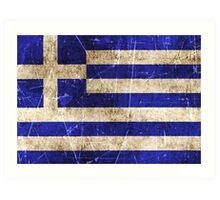 Vintage Aged and Scratched Greek Flag Art Print