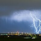 Northeast Colorado Lightning Strike and City Lights by Bo Insogna