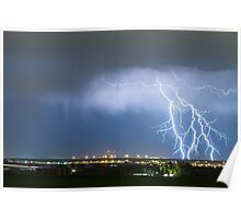Northeast Colorado Lightning Strike and City Lights Poster