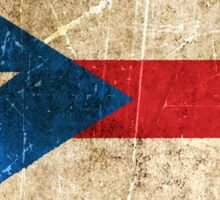 Vintage Aged and Scratched Puerto Rican Flag Sticker