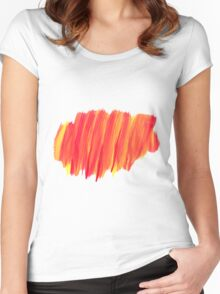 Funky Paint Stroke Orange and Yellow Women's Fitted Scoop T-Shirt