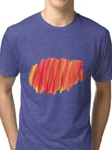 Funky Paint Stroke Orange and Yellow Tri-blend T-Shirt