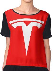 Tesla Logo Chiffon Top
