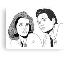 Scully and Mulder Metal Print