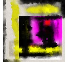 Confined - Abstract, geometric painting in yellow, black, white, red and purple Photographic Print