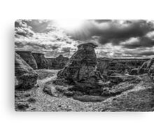 Writing on Stone - Hoodoos - BW Canvas Print