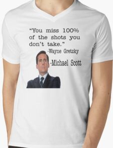 The Office Quote - You Miss 100% Of The Shots You Don't Take Mens V-Neck T-Shirt