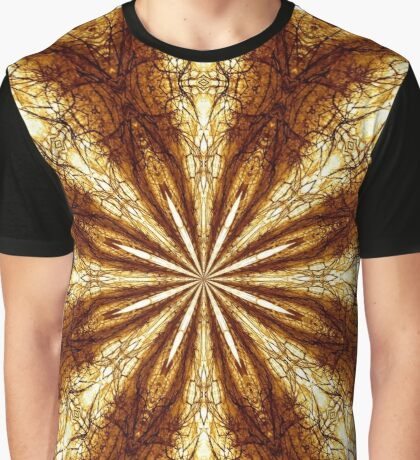 Golden Brown Sun Earth Eight Rays Kaleidoscope Graphic T-Shirt