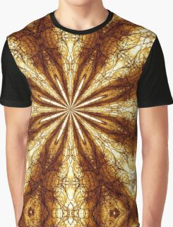 Gold Brown Sun Earth Eight Rays Kaleidoscope  Graphic T-Shirt