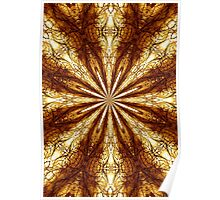 Gold Brown Sun Earth Eight Rays Kaleidoscope  Poster