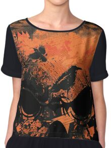 Skull with Crows - Distressed Grunge Chiffon Top