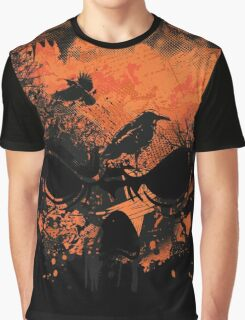 Skull with Crows - Distressed Grunge Graphic T-Shirt