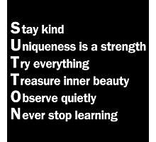 Sutton Foster - Life Lessons Acrostic  | Black Photographic Print