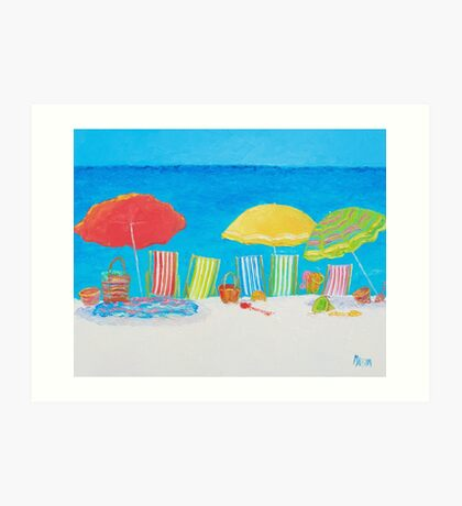 Beach painting - Deck Chairs Art Print