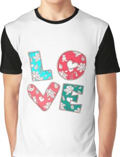 Vintage Ornamental Love Background With Lettering Graphic T-Shirt