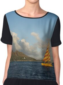 Cheerful Orange Catamaran and Diamond Head, Waikiki, Hawaii Chiffon Top