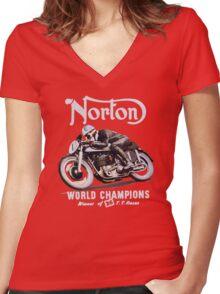 NORTON TT VINTAGE ART WINNER OF 26 RACES Women's Fitted V-Neck T-Shirt