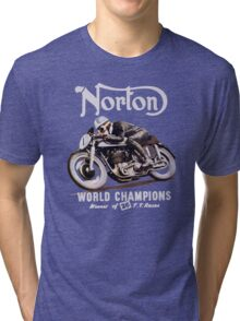 NORTON TT VINTAGE ART WINNER OF 26 RACES Tri-blend T-Shirt