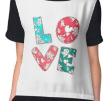 Vintage Ornamental Love Background With Lettering Chiffon Top