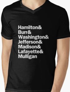 Hamilton - Hamilton & Burr & Washington & Jefferson & Madison & Lafayette & Mulligan | Black Mens V-Neck T-Shirt