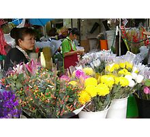 Flower market vendor Photographic Print