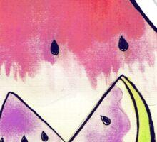 Watermelon Watercolor Cat Sticker
