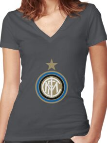 Inter Milan Badge Women's Fitted V-Neck T-Shirt