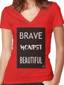 Brave Honest Beautiful // 5H Women's Fitted V-Neck T-Shirt