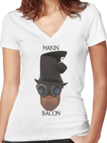 """TF2 Gibus Engineer """"Makin' Bacon"""" Women's Fitted V-Neck T-Shirt"""