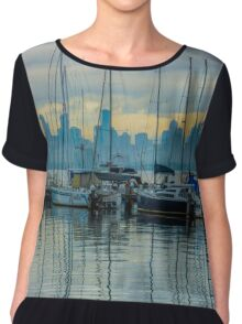 Sail Masts and the Melbourne Skyline - Williamstown, Victoria Chiffon Top